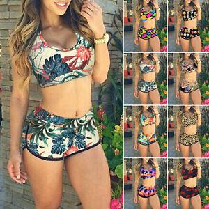 mujer-top-corto-cintura-alta-Pantalones-Floral-Bikini-Playa-Banador-Ropa-De-Bano