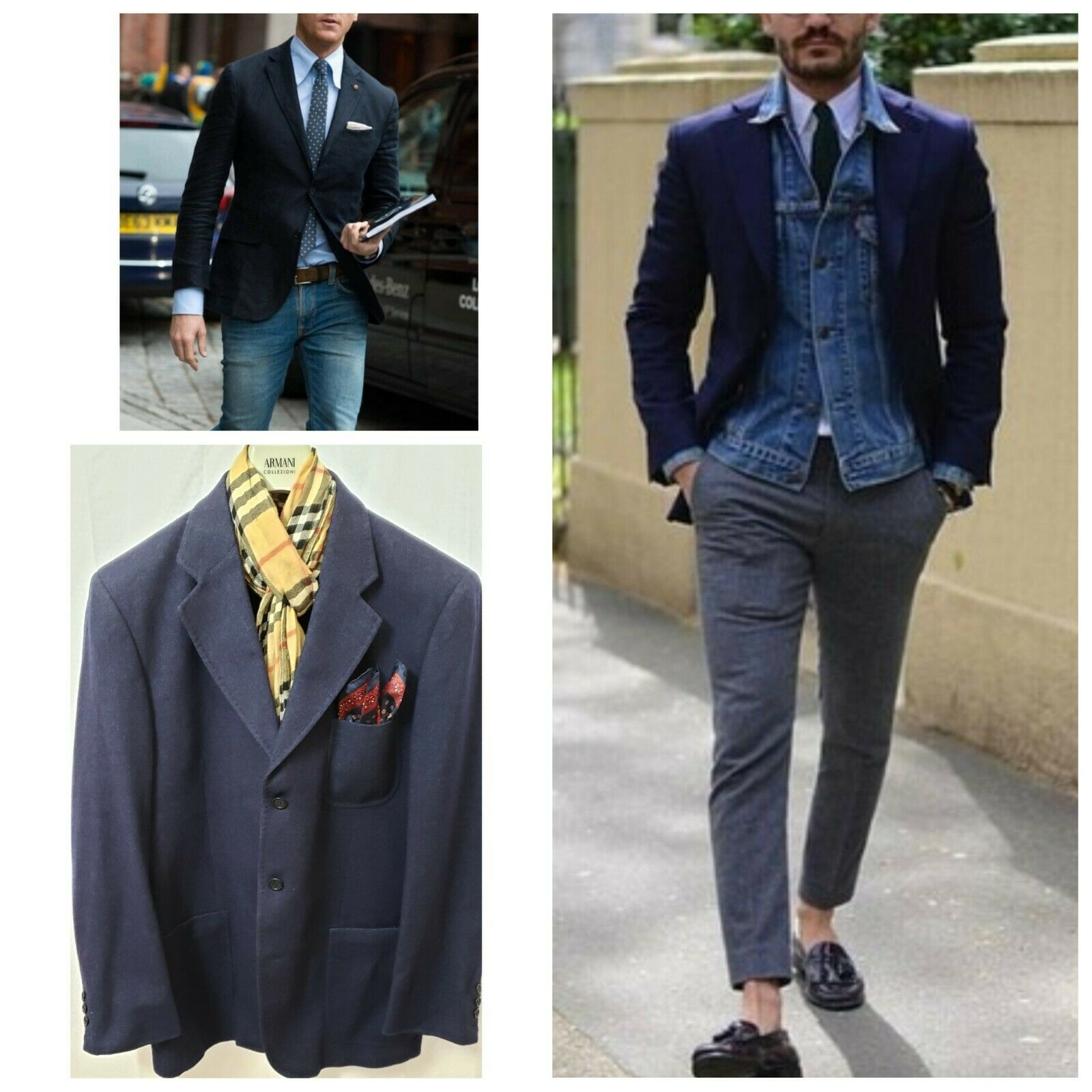 New  1095 Miller & Sons Blau Wool Wool Wool Cashmere Bestform Quality Blazer Jacket Mens 44 24c