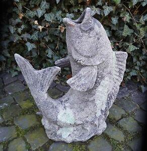 Giardino-Stagno-Statua-Pesce-Figura-Pfostenspitze-Terracotta-Antico-Paese-Stile