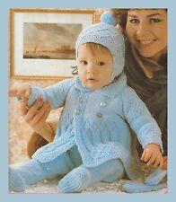 Old Knitting Pattern Baby Pram Set Coat Leggings Mitts Hats Patons