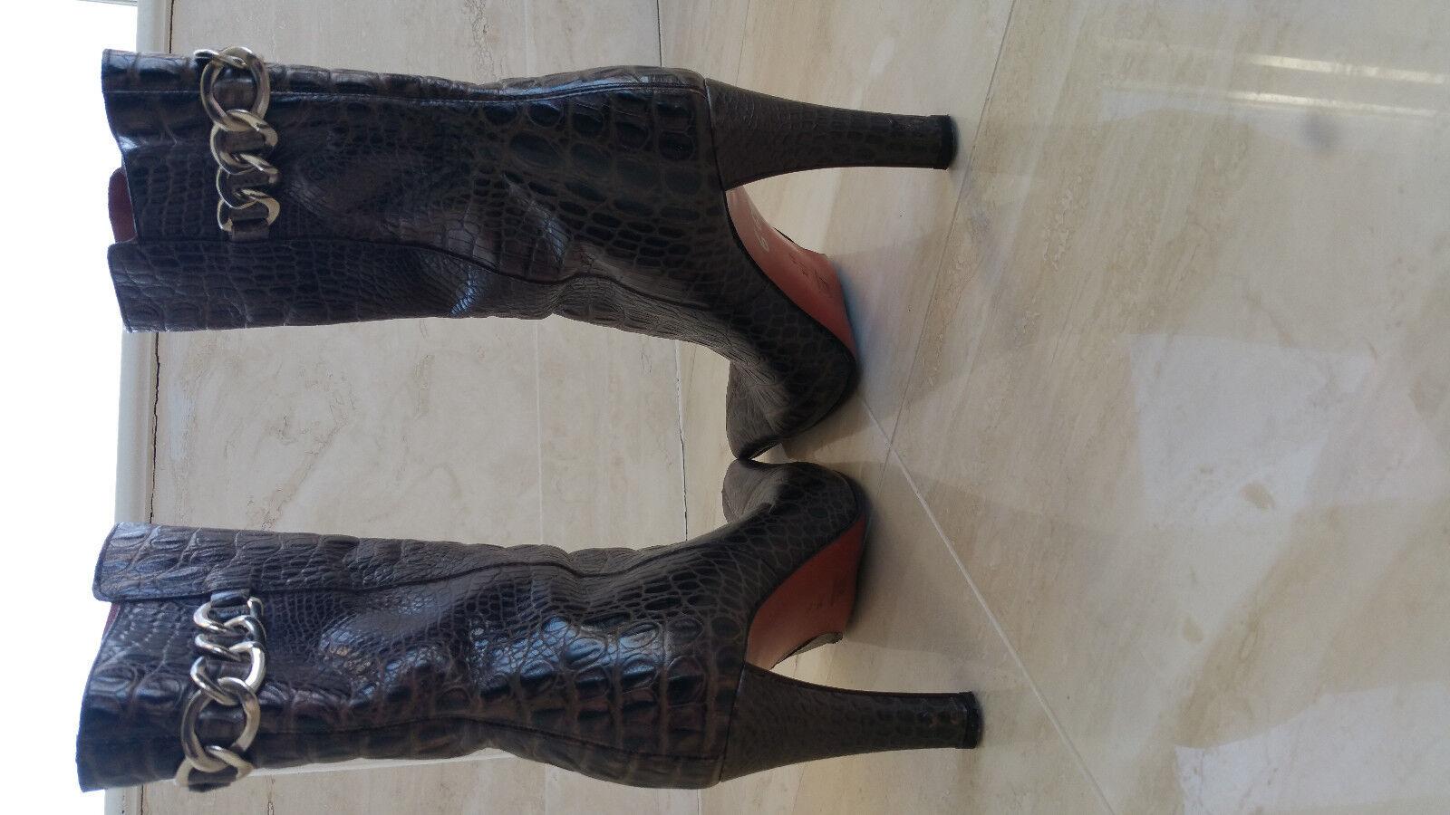 Donald J. Pliner Women's Size 8 8 8 M Coffee Brown Alligator   CROC EMBOSSED - Boots f862c6