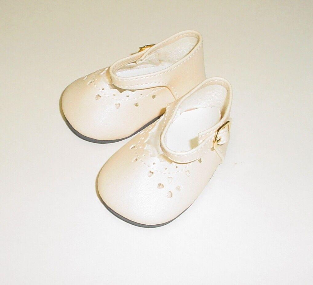 "Doll Shoes 85mm CREAM Heart Cut Buckle for Chatty Cathy My Twinn 20/"""