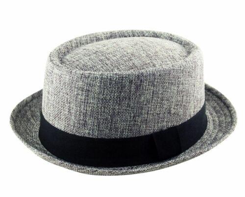Mens Pork Pie Hat Classic Trilby Textured Cap Blender Multi Colours All Sizes