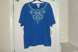 ad80faf59a ALFRED DUNNER PLUS SIZE 1X TOP WAIKIKI OCEAN BLUE NEW WITH TAGS