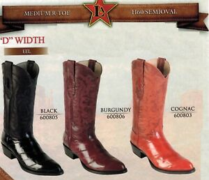 Los-Altos-Men-039-s-Medium-R-Toe-Genuine-EEL-Leather-Cowboy-Western-Boots