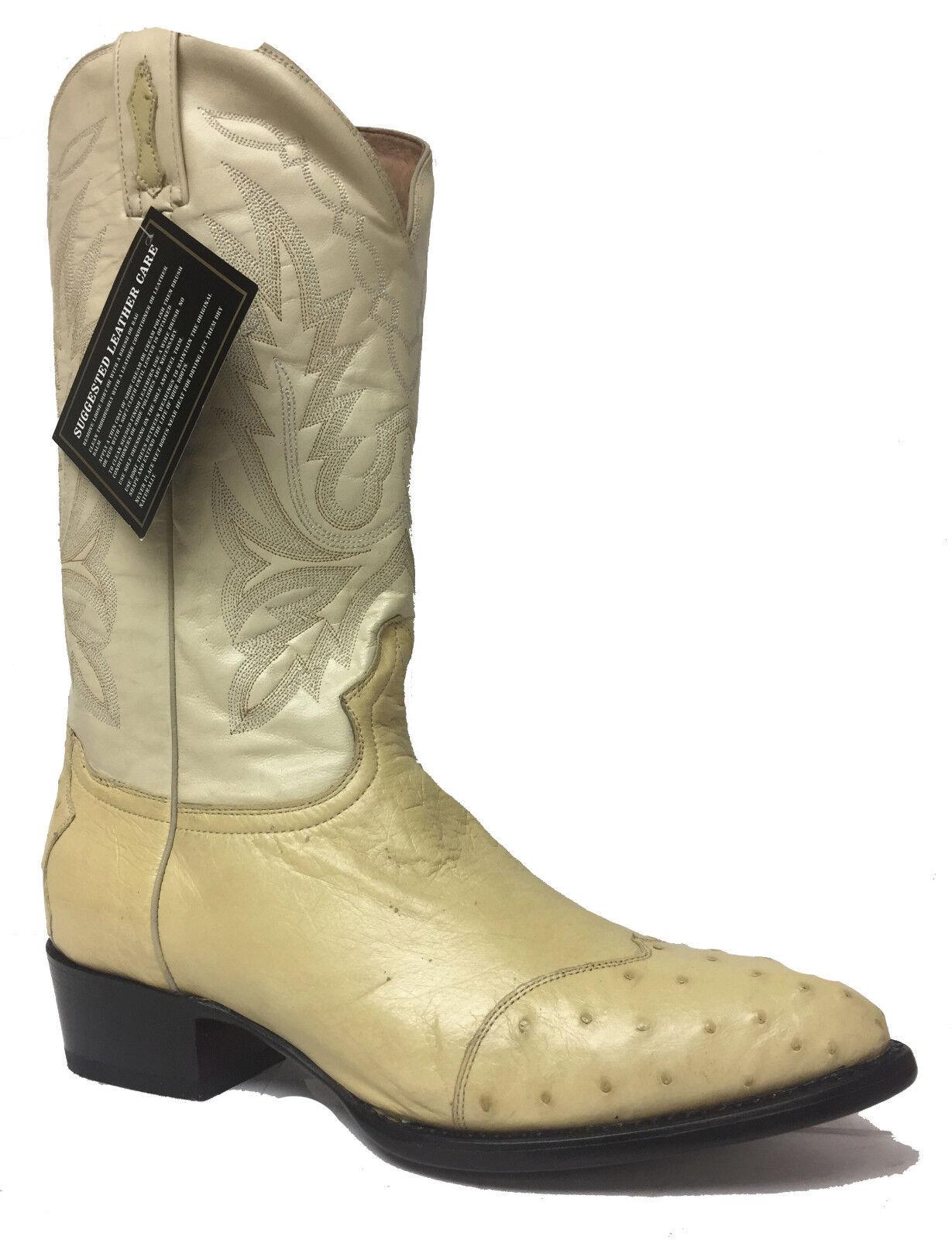 Nuevo Para hombres Cuero Genuino Avestruz blancoo Apagado Western Cowboy Rodeo botas
