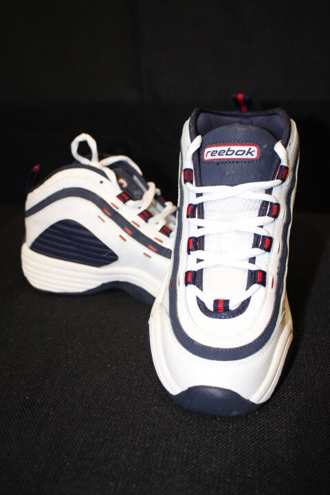 REEBOK Juniors Basketball Shoes Tip-In, White,Navy & Red, US Sz 4.5-B7