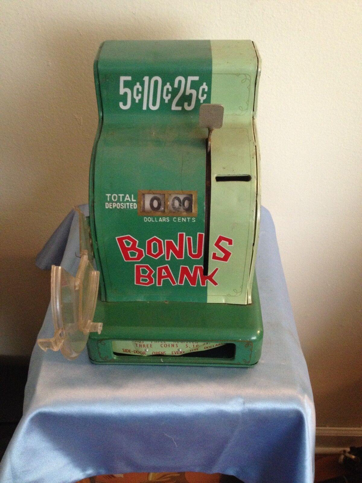 VINTAGE 1946 MARX BONUS BANK CASH REGISTER 40'S TIN TOY DOOR FLIPS OPEN RARE