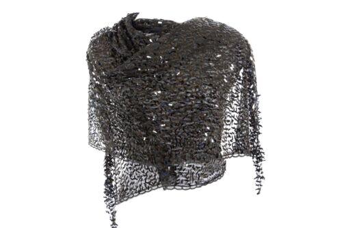 B59 Metallic Black Sequin Lace Scallop Boutique Party Shawl Scarf