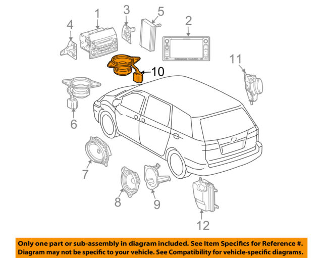 Toyota Oem 04 10 Sienna Stereo Speaker Audio 86160ae060