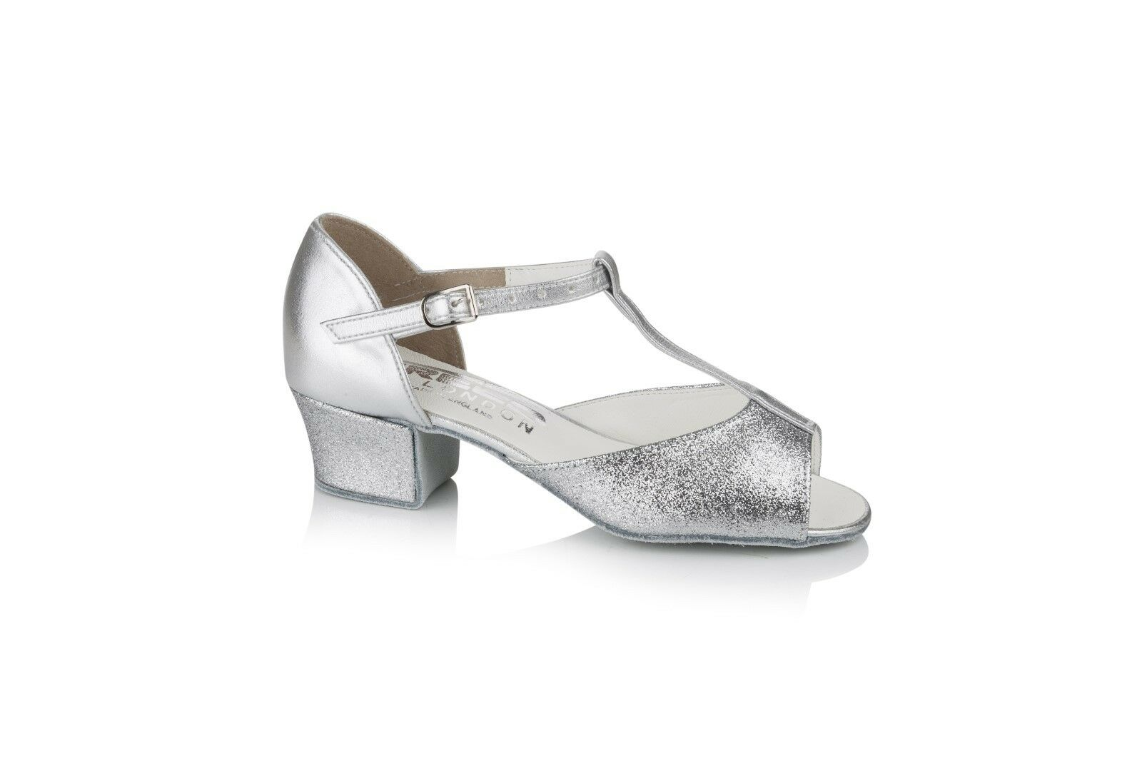 Freed of London Marina Silver ballroom shoe sizes child 7 to adult 6 made in UK