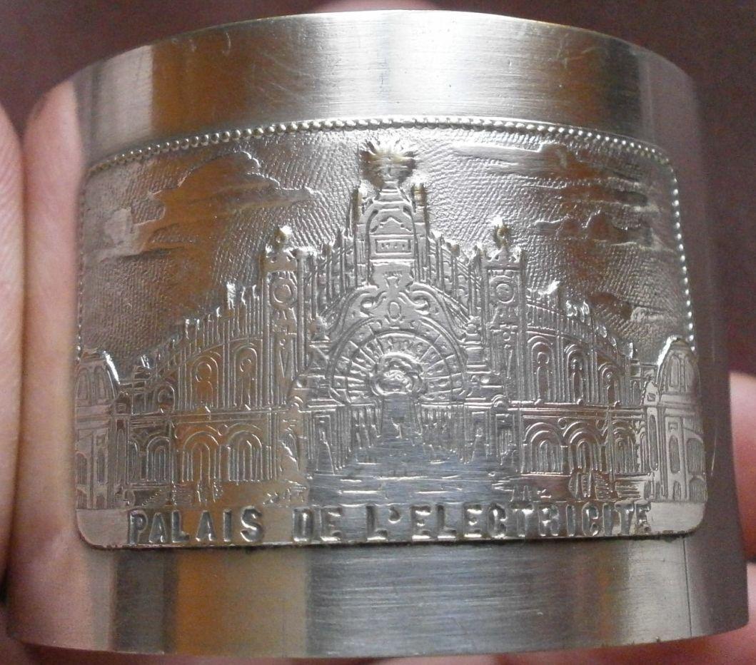 Rond de serviette métal argenté - Exposition universelle 1900 Palais électricité