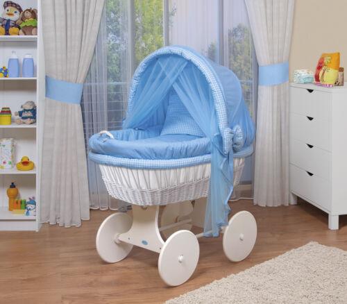 WALDIN Baby Bollerwagen,Stubenwagen,komplett mit Zubehör,XXL,Stoffe Blau//kariert