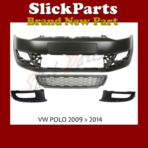 VW POLO FRONT BUMPER PRIMED WITH 3 LOWER GRILLES FOG TYPE 2009 /> 2014 *NEW*