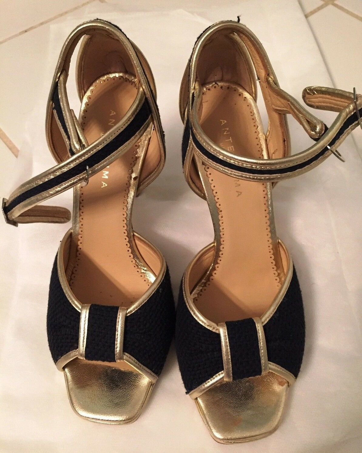 Authentic Anteprima Sporty Canvas Heel Heel Heel schuhe, Größe 8   38, Gold Dark Blau bb5f81