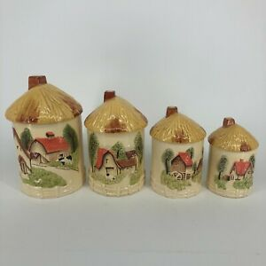 SET-OF-4-Vintage-Sears-Roebuck-Ceramic-Canister-Set-w-Lids-Country-Cottage-Farm