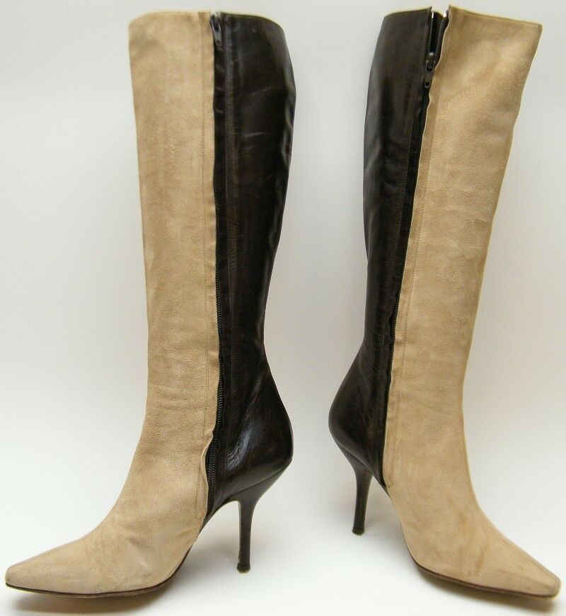 WOMENS CHLOE BROWN TAN SUEDE LEATHER ZIP HIGH HEEL KNEE HIGH BOOTS SZ 35 1/2 5.5