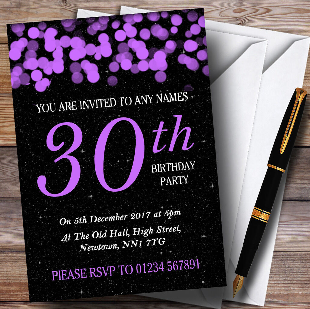 lila Bokeh & Stars 30th Personalised Birthday Party Invitations
