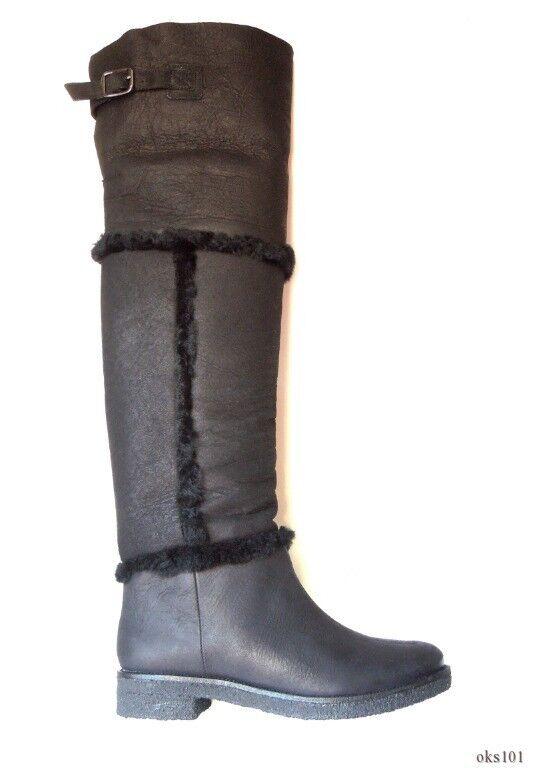 new $675 Diane von Furstenberg 'Adele' 'Adele' Furstenberg black ALL shearling OTK TALL boots - best ffc28d