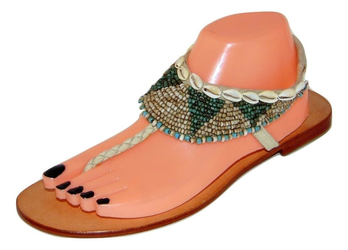 New  129 COCOBELLE Maui Beaded Puka Shell Sandals 37, 6.5