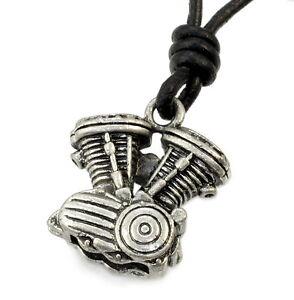 N31-Anhaenger-V-Zylinder-MIT-LEDERKETTE-Biker-Chopper-Herren-Halskette-Necklace