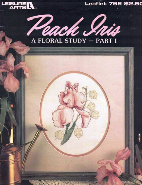 Leisure Arts 769 PEACH IRIS A Floral Study Part I for Counted Cross Stitch