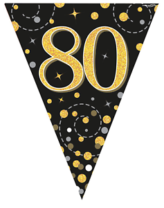 80th Birthday Party Sparkling Age 80 Black Gold Flag Bunting