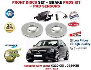 FOR MERCEDES W204 C220 C250 CDI 2007-2014 FRONT BRAKE DISCS SET + PADS + SENSORS