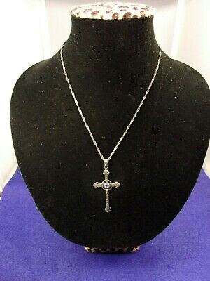 Marcasite Style Cross Pendant Tarnish Free Sterling Silver