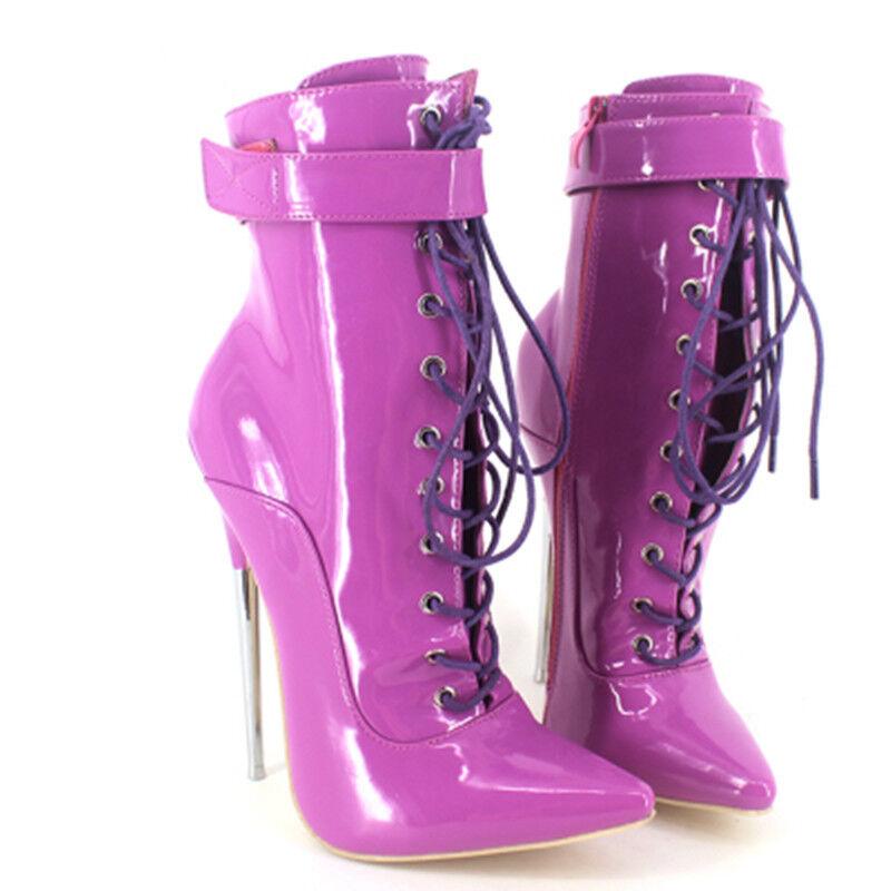 Sexy Para mujeres botas Sexy stiletto Anke de taco alto Sexy botas Con cordones Zapatos Puntera Puntiaguda Tamaño Grande a4eb16