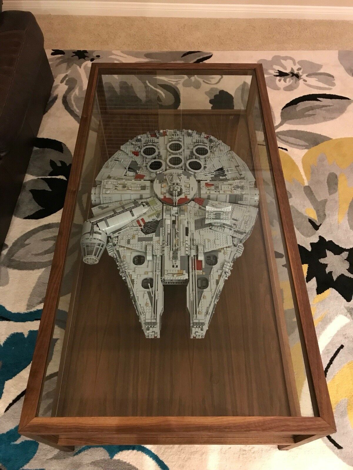 Handmade Walnut Modern-Style Shadow Box Coffee Table for Lego Millenium Falcon
