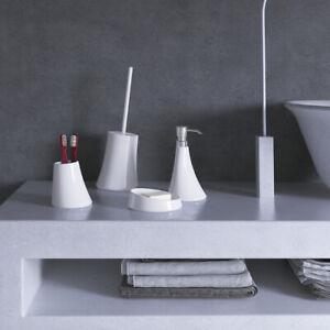 Set accessori bagno da appoggio in resina bianca Gedy linea Flou