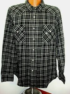 Mens-Roebucks-and-Co-Gray-Black-Pearl-Snap-Western-Style-Flannel-Shirt-Tag-XXL