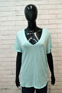 Polo-Donna-RALPH-LAUREN-Taglia-XL-Maglia-Manica-Corta-shirt-Jersey-Celeste-Woman