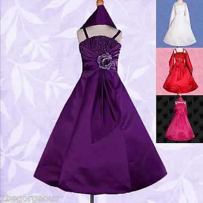 Satin Flower Girl Dress & Shawl Wedding Bridesmaid Party Age 2-11 Years 175S