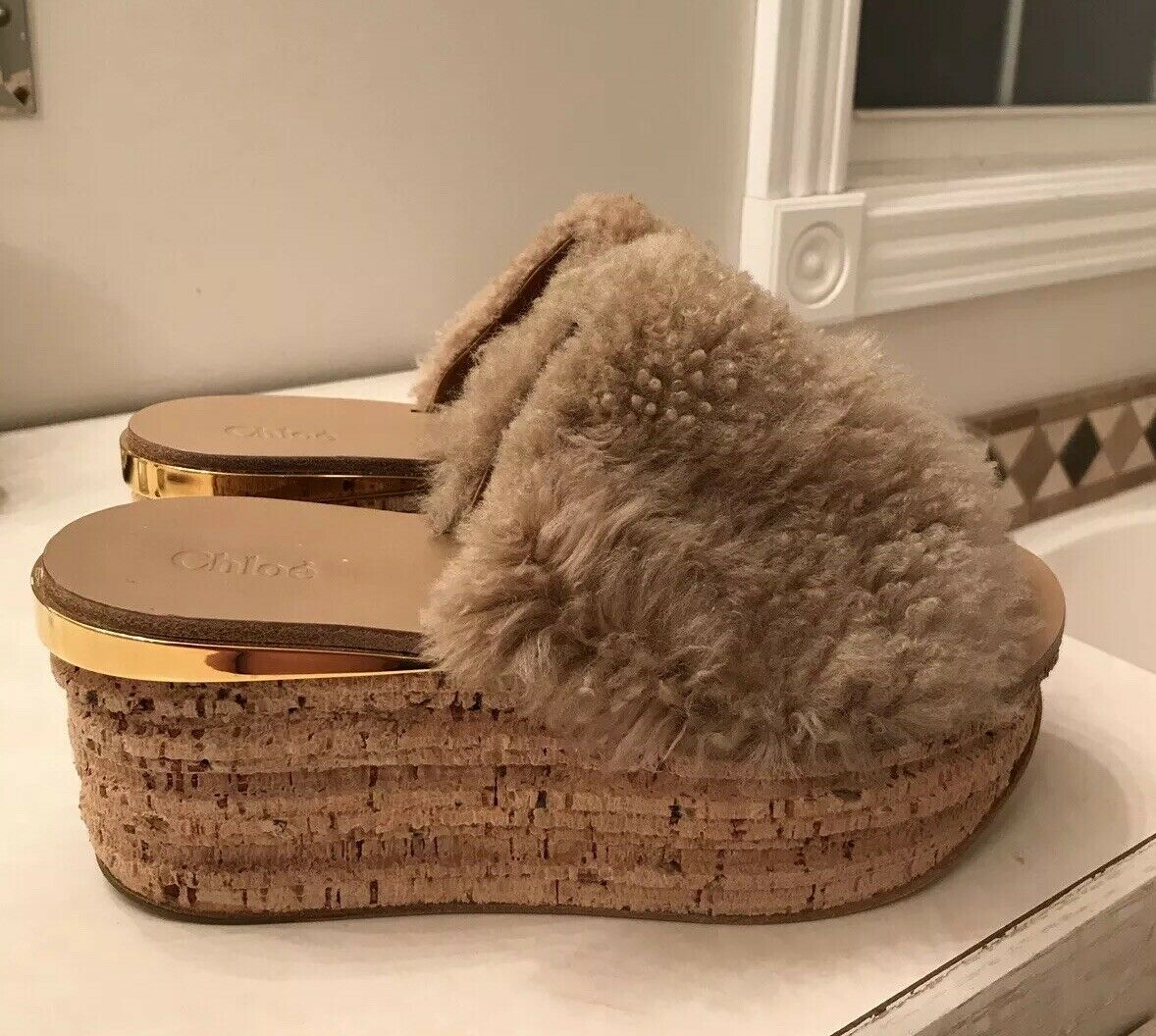 Chloe Camillie sand beige 9 39 shearling platform slide sandal shoe NEW  890