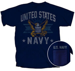 US-Navy-USN-Vintage-Emblem-Pocket-BLUE-Adult-T-shirt