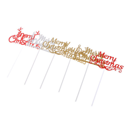 5x Merry Christmas Cake Topper Cupcake Topper For Xmas Party Cake Decor  T2P
