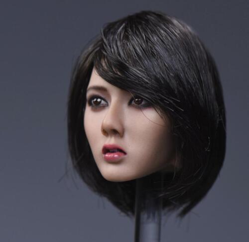 1//6 Asian Beauty Lady head black short hair for suntan Phicen kumik ❶US SELLER❶