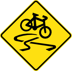 SLIPPERY-FOR-CYCLISTS-W5-V104-SELF-ADHESIVE-STICKER-DECAL-SIGN-HEALTH