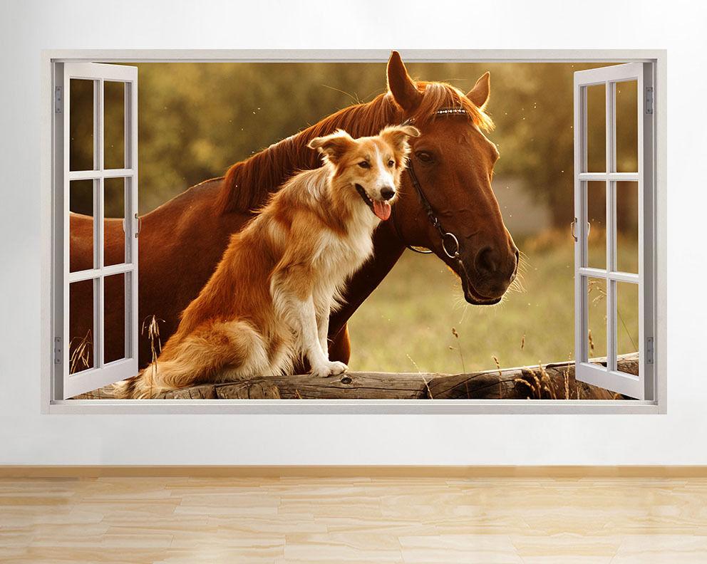 C637 Cavallo Cane Farm Carino scuola materna Fi adesivo da parete camera bambini
