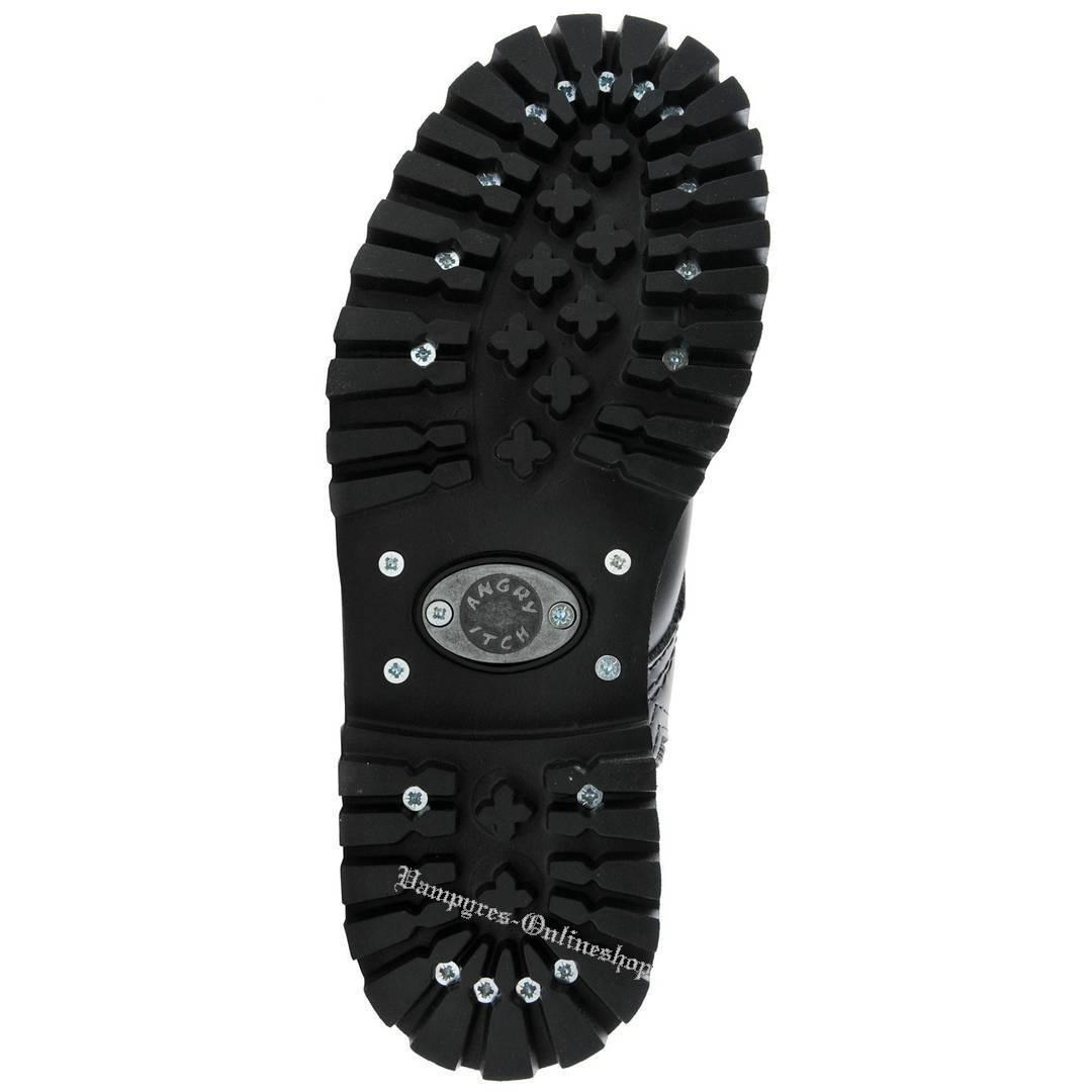 Angry Itch Vegan 14 agujeros Vegan Itch negro cremallera rangers botas acero tapas RV 795a69