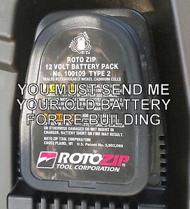rebuild service for roto zip no 100109 nicad battery pack 12 volt ebay