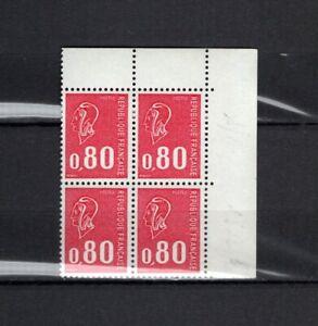 France N° 1816 B Bloc De 4 Gomme Trop. Sans Phosphore Type Bequet Neufs ** En Voyageant