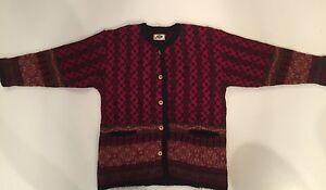 Women-039-s-ICEWEAR-Red-Black-NORDIC-CARDIGAN-Wool-FAIR-ISLE-SWEATER-Size-M-Jacket