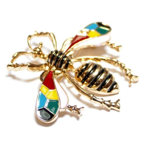 Brosche Biene in Gold mit bunten Flügeln 47x40 mm 1 Stück BACATUS #4673