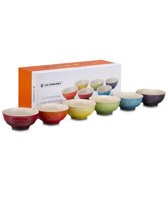 Le Creuset Rainbow Colorful 6 Mini Bowl Set Stoneware Pottery Ceramic Tableware