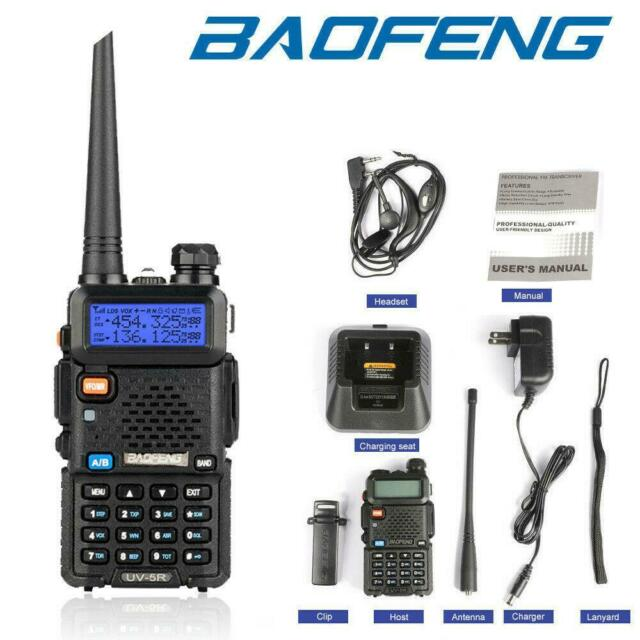 2x Baofeng UV-5R Walkie Talkie Dual Band 5W 128CH VOX 2-Way Radio With Earpiece