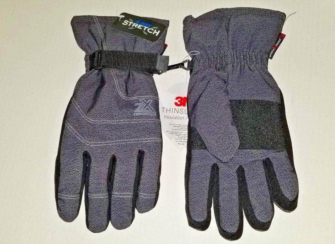 New W/Tags Zero Xposur 3M Thinsulate L/XL Gloves 4-way Stretch Black Denim