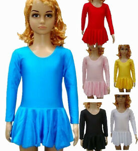 New-Kids-Girls-Pink-Black-White-Red-Spandex-Long-Sleeve-Ballet-Dance-Dress-Skirt